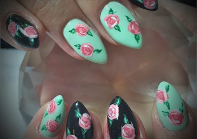 Black-Cherry-Nails-painted-roses-coquitlam